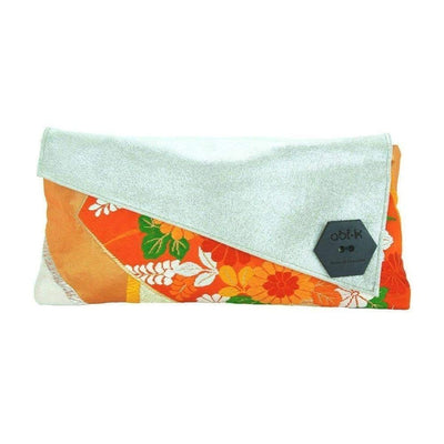 Silk Kimono Kouture Leather Clutch Bag-Discontinued-Tangerine Shimmer-Tegen Accessories