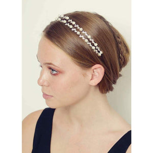 Silver Crystal and Pearl Double Headband-Headbands-Bridal-Pearl and Crystal-Tegen Accessories