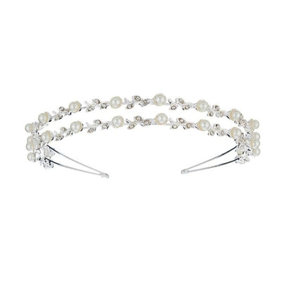 Silver Crystal and Pearl Double Headband-Discontinued-Pearl and Crystal-Tegen Accessories