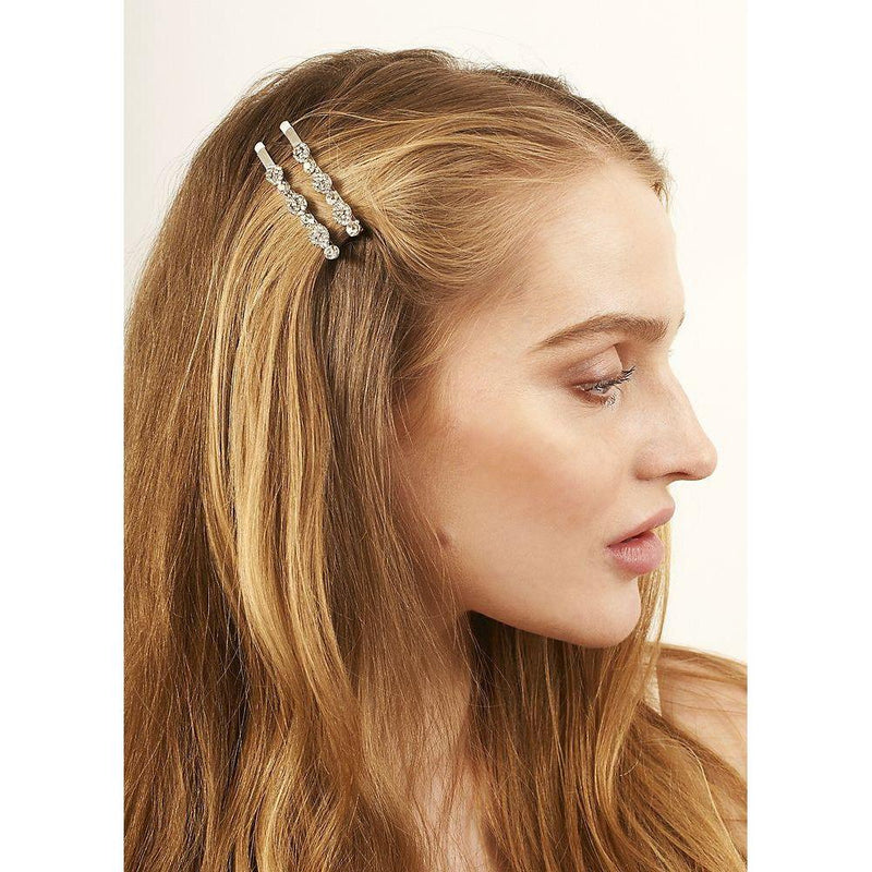 Silver Crystal Cluster Hair Slides-Clips & slides-Rosie Fox-Tegen Accessories