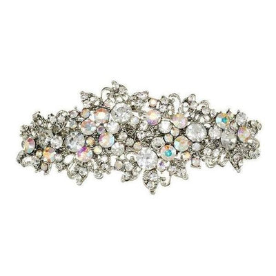 Silver Crystal Flower Barrette Clip-Discontinued-Clear and AB-Tegen Accessories