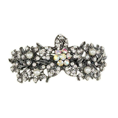 Silver Crystal & Pearl Flower Barrette Clip-Discontinued-Pearl and Crystal-Tegen Accessories