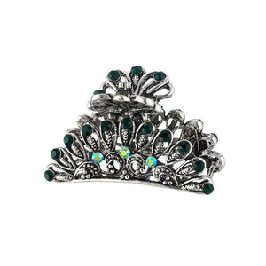 Silver Moss Crystal Hair Claw-Hair claws-Rosie Fox-Emerald Crystal-Tegen Accessories
