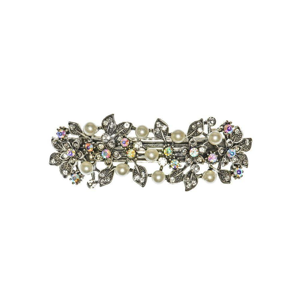 Silver Pearl and Crystal Flowers Barrette-Barrettes-Rosie Fox-Tegen Accessories