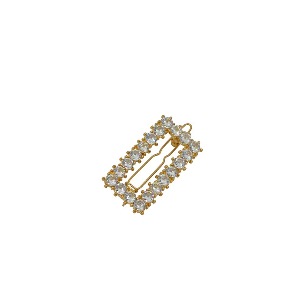 Small Crystal Cut Out Rectangle Hair Clip Blue