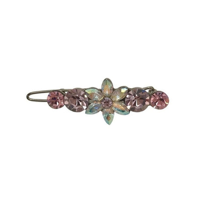 Small Flower Hair Clip-Discontinued-Pink Crystal-Tegen Accessories