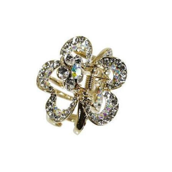 Small Flower Swarovski Crystal Hair Claw-Discontinued-Gold-Tegen Accessories