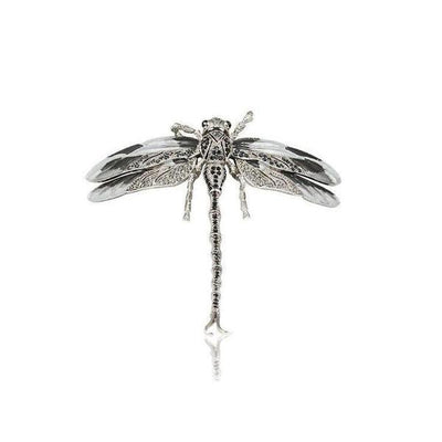 Small Swarovski Crystal Dragonfly Barrette-Barrettes-Swarovski Crystal-Black-Silver-Tegen Accessories
