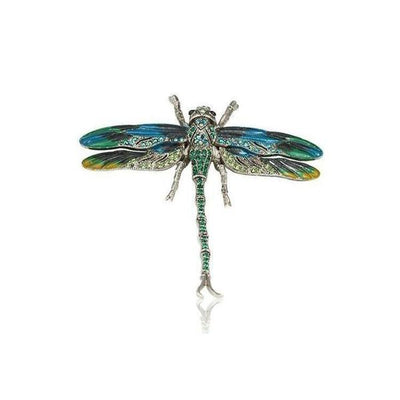Small Swarovski Crystal Dragonfly Barrette-Barrettes-Swarovski Crystal-Green-Silver-Tegen Accessories