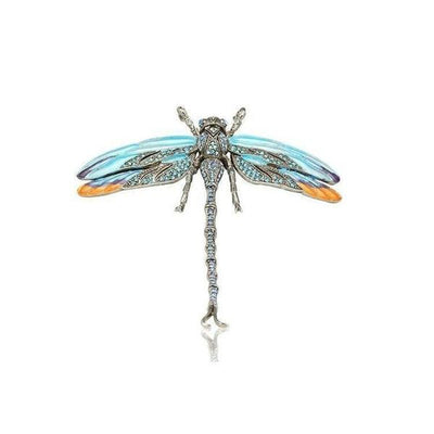 Small Swarovski Crystal Dragonfly Barrette-Barrettes-Swarovski Crystal-Pale Blue-Silver-Tegen Accessories
