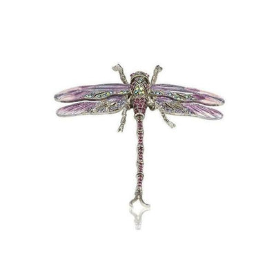 Small Swarovski Crystal Dragonfly Barrette-Barrettes-Swarovski Crystal-Purple-Silver-Tegen Accessories