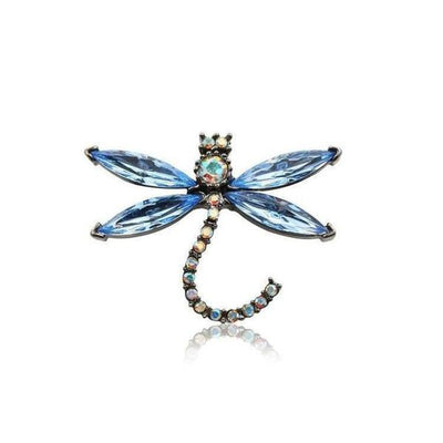 Small Swarovski Crystal Dragonfly Hair Clip-Clips & slides-Swarovski Crystal-Light Blue Crystal-Tegen Accessories