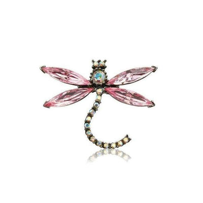 Small Swarovski Crystal Dragonfly Hair Clip-Clips & slides-Swarovski Crystal-Pink Crystal-Tegen Accessories