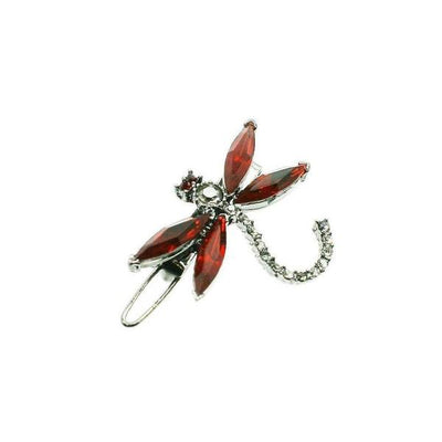 Small Swarovski Crystal Dragonfly Hair Clip-Clips & slides-Swarovski Crystal-Red Crystal-Tegen Accessories