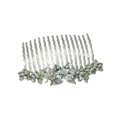 Small Swarovski Crystal Flower Comb-Discontinued-Clear Crystal-Silver-Tegen Accessories