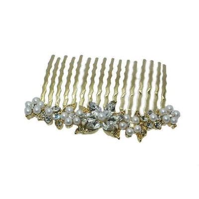 Small Swarovski Crystal Flower Comb-Discontinued-Pearl and Crystal-Gold-Tegen Accessories