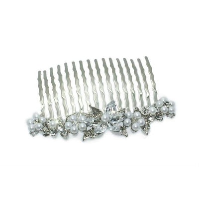 Small Swarovski Crystal Flower Comb-Discontinued-Pearl and Crystal-Silver-Tegen Accessories