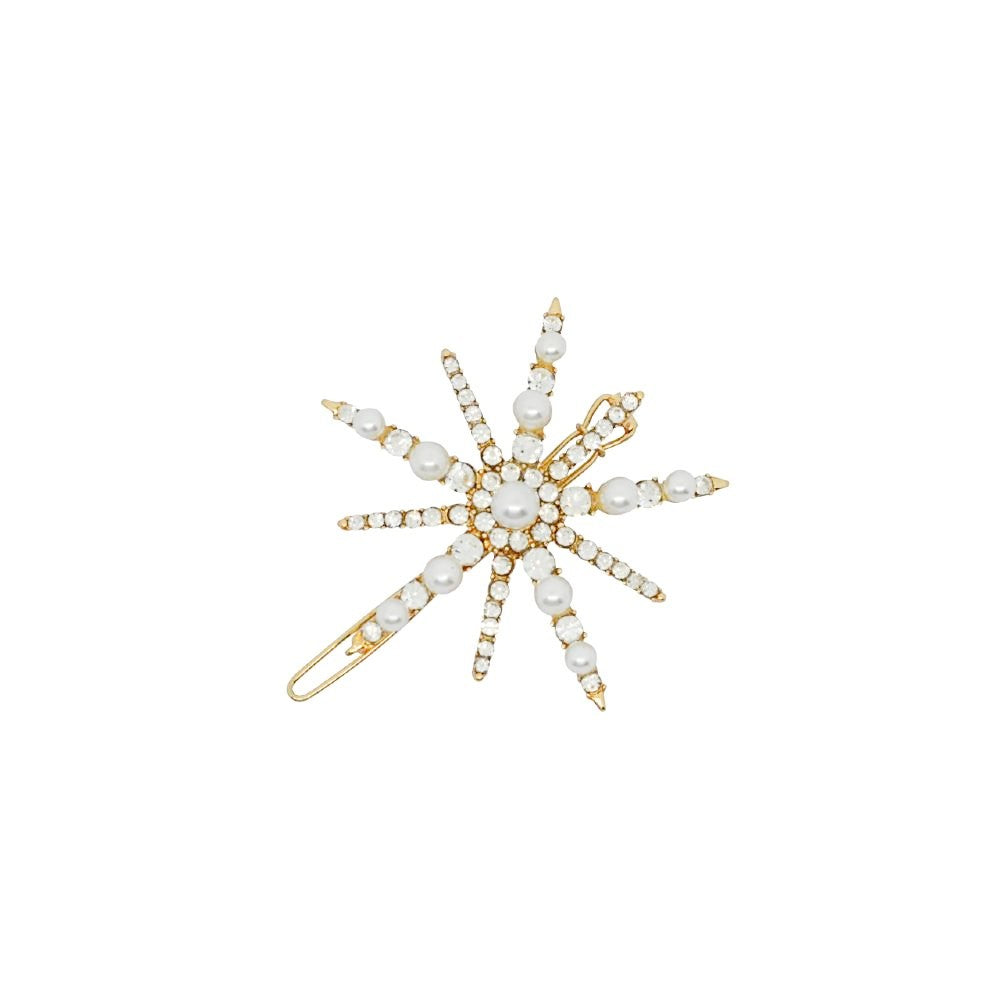 Star Burst Crystal and Pearl Hair Clip Cream and Gold