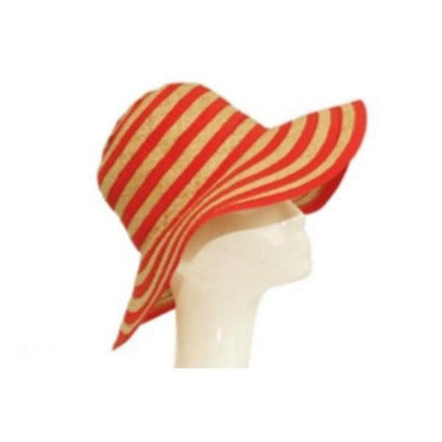 Stripy Floppy Straw Hat-Discontinued-Red/Natural-Tegen Accessories