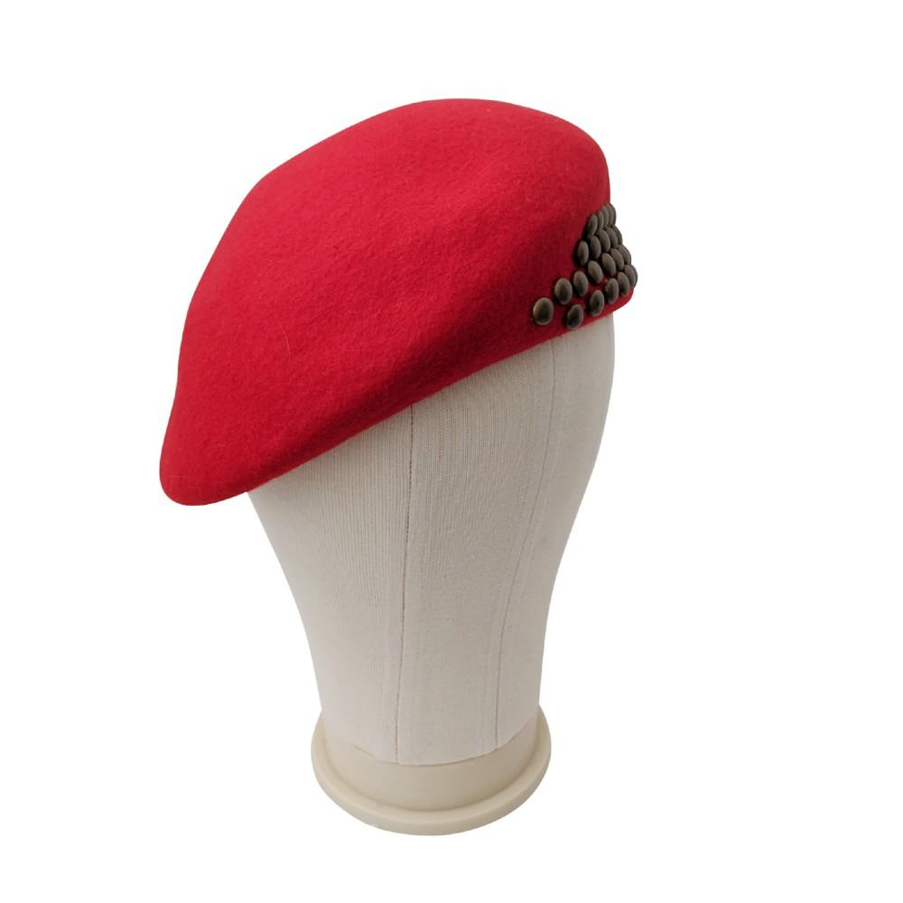 Studded Structured Military-Style Beret-Suzanne Bettley-Hats-Tegen Accessories-Red
