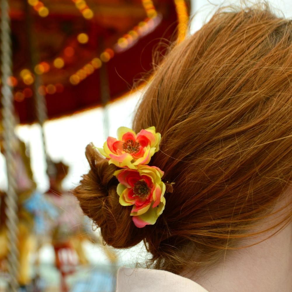 Sunset Cherry Blossom Hair Clip-Hair flowers-Rosie Fox-Tegen Accessories Yellow