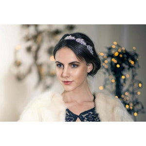 Swarovski Asymmetric Three Leaf Headband-Headbands-Bridal-Tegen Accessories