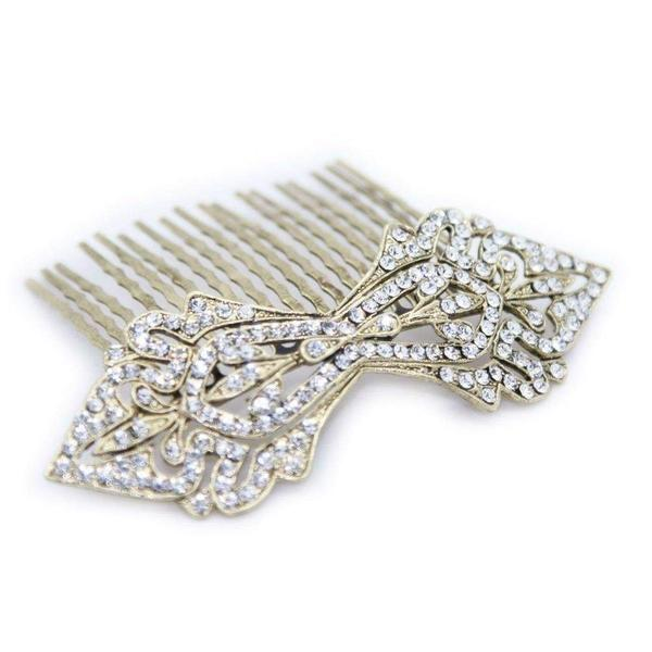 Swarovski Crystal Art Deco Bow Comb-Hair combs-Swarovski Crystal-Gold Crystal-Gold-Tegen Accessories