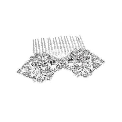 Swarovski Crystal Art Deco Bow Comb-Hair combs-Swarovski Crystal-Clear Crystal-Silver-Tegen Accessories