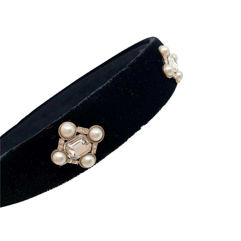 Swarovski Crystal Art Deco Velvet Headband - Swarovski Crystal - Headband - Tegen Accessories - Pearl Black