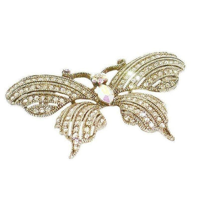 Swarovski Crystal Butterfly Brooch-Discontinued-Clear Crystal/Gold-Tegen Accessories