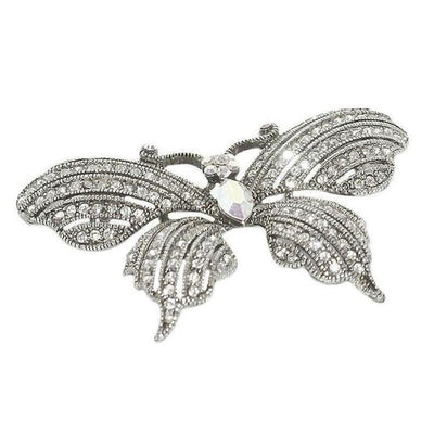 Swarovski Crystal Butterfly Brooch-Discontinued-Clear Crystal/Silver-Tegen Accessories