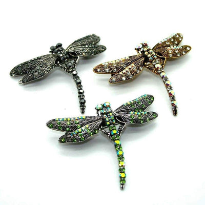 Swarovski Crystal Dragonfly Hair Clip-Discontinued-Green Crystal-Tegen Accessories