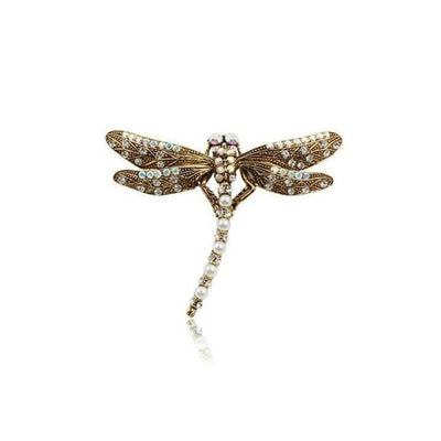 Swarovski Crystal Dragonfly Hair Clip-Discontinued-Pearl-Tegen Accessories