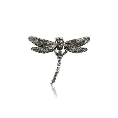 Swarovski Crystal Dragonfly Hair Clip-Discontinued-Pewter Crystal-Tegen Accessories