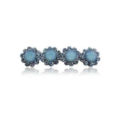 Swarovski Crystal Four Flower Hair Clip-Discontinued-Blue Opal-Tegen Accessories