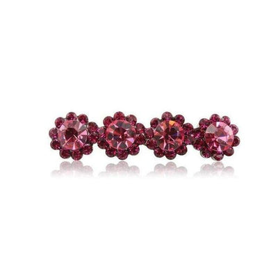 Swarovski Crystal Four Flower Hair Clip-Discontinued-Fuchsia Crystal-Tegen Accessories