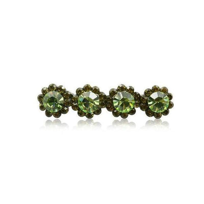 Swarovski Crystal Four Flower Hair Clip-Discontinued-Green Crystal-Tegen Accessories