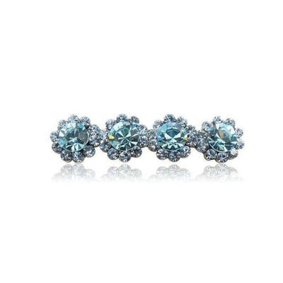 Swarovski Crystal Four Flower Hair Clip-Discontinued-Light Blue Crystal-Tegen Accessories