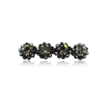Swarovski Crystal Four Flower Hair Clip-Discontinued-Pewter Crystal-Tegen Accessories