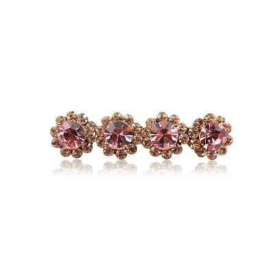 Swarovski Crystal Four Flower Hair Clip-Discontinued-Pink Crystal-Tegen Accessories