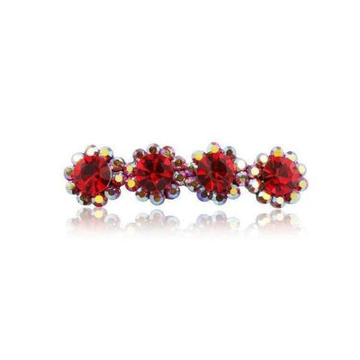 Swarovski Crystal Four Flower Hair Clip-Discontinued-Red Crystal-Tegen Accessories