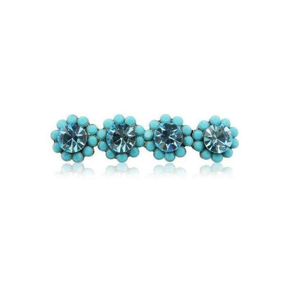 Swarovski Crystal Four Flower Hair Clip-Discontinued-Turquoise Crystal-Tegen Accessories
