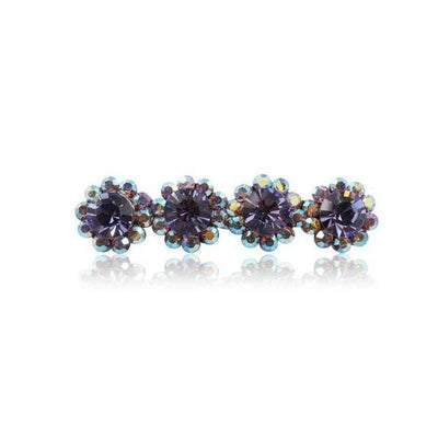 Swarovski Crystal Four Flower Hair Clip-Discontinued-Violet Crystal-Tegen Accessories