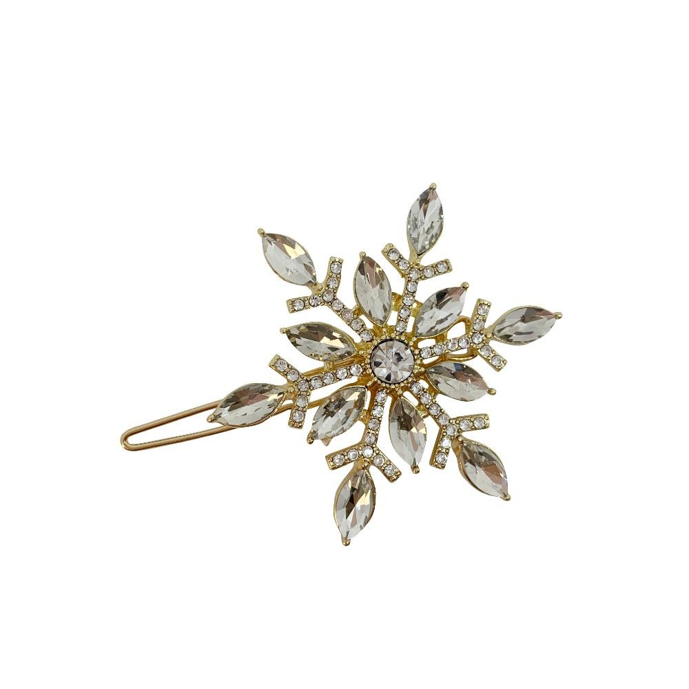 Swarovski Crystal Snowflake Hair Clip-Swarovski Crystal-Clips & Slides-Tegen Accessories-Gold