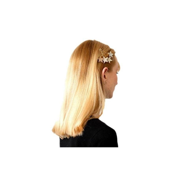 Swarovski Crystal Star Hair Slide-Clips & slides-Swarovski Crystal-Clear Crystal-Gold-Tegen Accessories