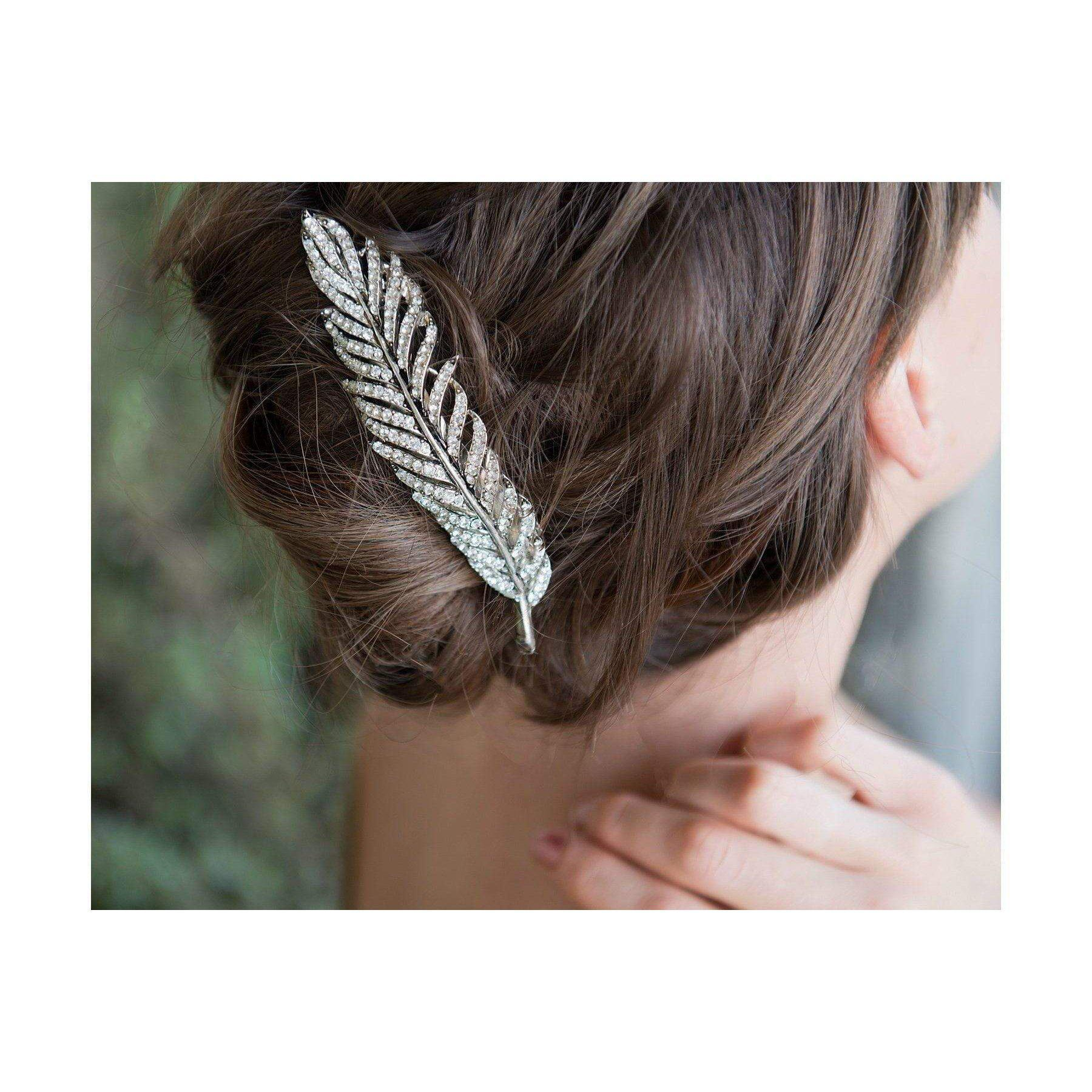 Swarovski Feather Hair Ornament-Beak clips-Swarovski Crystal-Clear Gold-Tegen Accessories