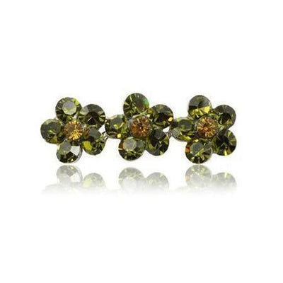 Swarovski Flower Hair Clip-Discontinued-Olive Green Crystal-Tegen Accessories