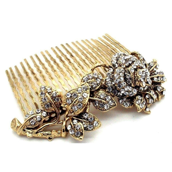 Swarovski Rose Hair Comb-Hair combs-Swarovski Crystal-Gold-Tegen Accessories
