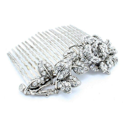 Swarovski Rose Hair Comb-Hair combs-Swarovski Crystal-Silver-Tegen Accessories