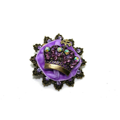 Velvet Crown Brooch-Brooches-Rosie Fox-Purple-Tegen Accessories